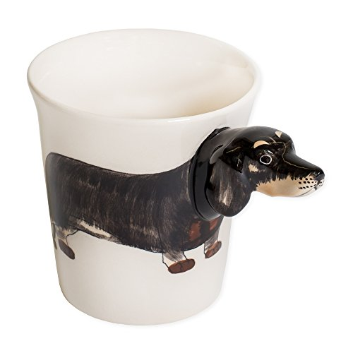 Black Dachshund Dog 8 oz. Ceramic Stoneware Hand Painted Coffee Mug