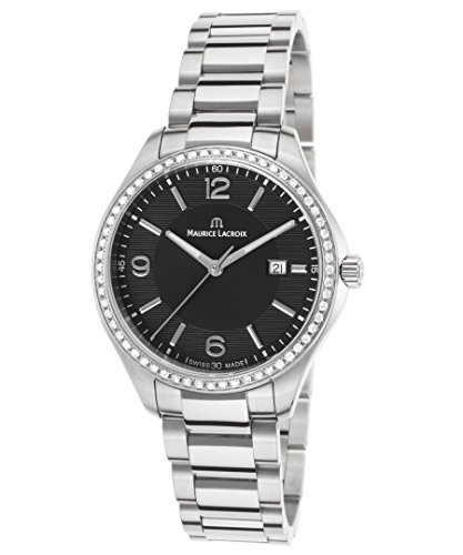 Maurice Lacroix Mi1014-Sd502-330 Women's Miros Diamond Stainless Steel Black Dial Watch