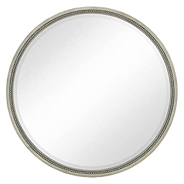 Majestic Mirror Round Hanging Wall Mirror with Gold Roses Accent