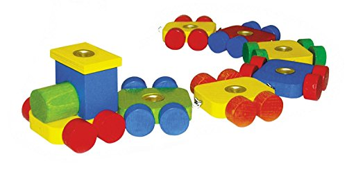 Hess Wooden Birth Day Train with 6 Carriages Baby Toy, 36 cm (Doug Diesel Train)