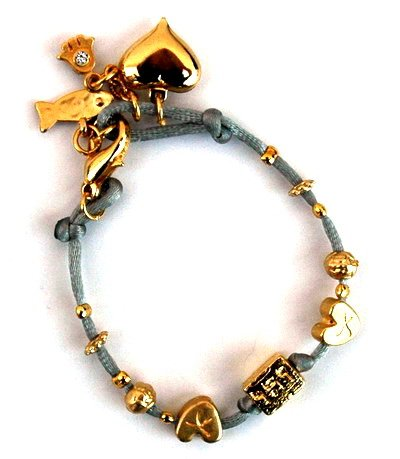 Women's Grey Silk Kabbalah and Hamsa Hand Bracelet for Protection 18 CM