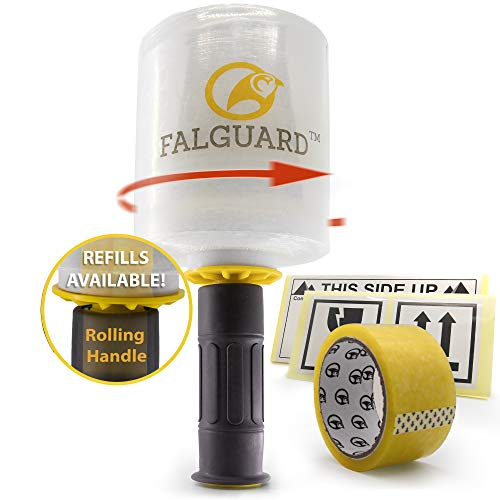 - Falguard Stretch Wrap with Reusable Rolling Handle Dispenser, Shrink Film for Wrapping Furniture + Adhesive Tape