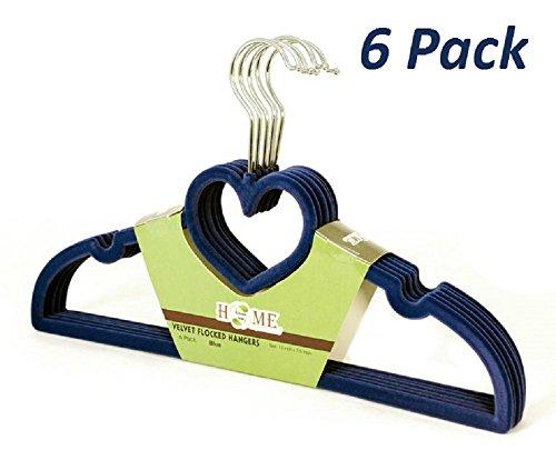 Heart Shaped Bar (Uniware® Flocked Suede Velvet Cloth Hanger, Heart Shaped, Grooved Bar, Non Slip (Set of 6, Midnight)
