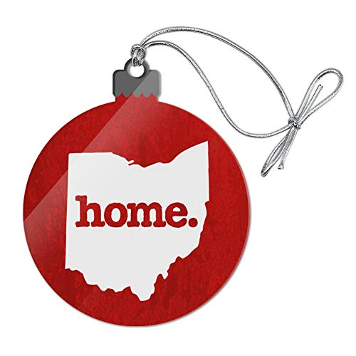 GRAPHICS & MORE Ohio OH Home State Textured Red Officially Licensed Acrylic Christmas Tree Holiday Ornament (Holiday State Ornament Ohio)