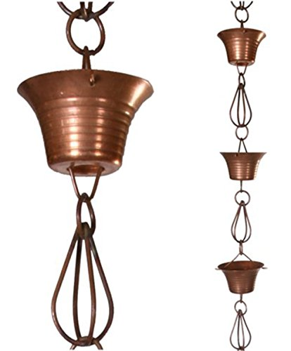NACH AO-19730 Stylish Decorative Metallic Rain Chain Bucket, Gutter Downspout Replacement, 8 Feet Long, Antique Copper Coated, Bowl & Iron (Downspout Replacement)