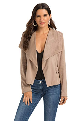 (Escalier Womens Suede Leather Jacket Open Front Lapel Cardigan Blazer Jackets (M, Camel))