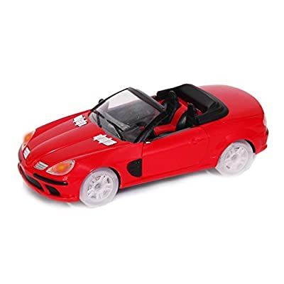 Dazzling Toys Bump and Go Speed Car, Shiny Red Toy Car with Music and Flashing Lights, Battery Powered: Toys & Games