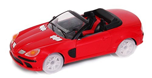 Bump and Go Speed Car, Shiny Red Toy Car with Music and Flashing Lights, Battery Powered by Dazzling (Rotary Drag Racing)