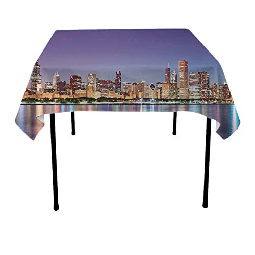 GOAEACH USA Chicago Skyline Night View Square/Rectangular Table Cloth Polyester Waterproof Wrinkle Free Tablecovers - Seasonal D¨¦cor, Trade Show, Restaurant, Dinner Parties Table Toppers for $<!--$19.99-->