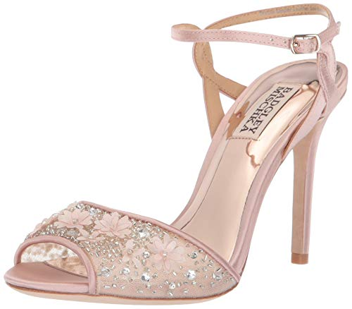 Badgley Mischka Women's Isabella Heeled Sandal, Blush Satin, 6 M US
