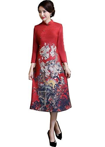 oriental flower print dress - 7