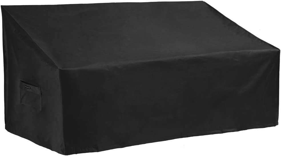 Patio Watcher Small Outdoor Loveseat Bench Cover, Durable and Waterproof Patio Furniture Sofa Cover, Black
