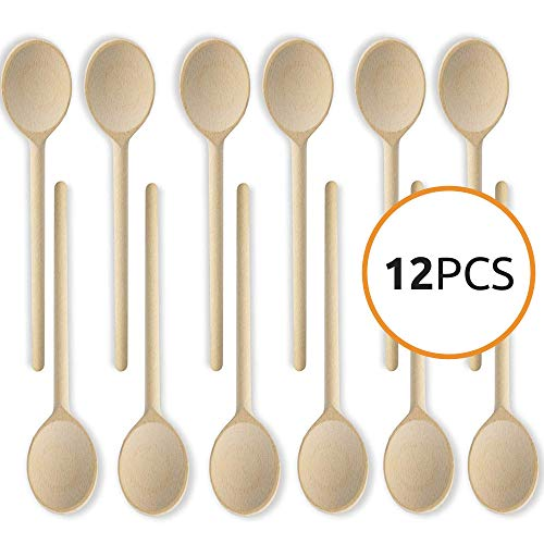 10- Inch Long Handle Wooden Kitchen Spoons Baking Mixing Serving Craft Utensils Bulk Oval Spoon Puppets Beechwood Long Handle - Set of 12 - MR. WOODWARE