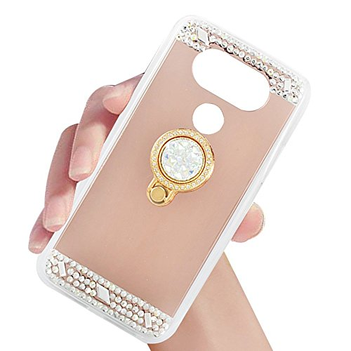 (LG G6 Case,XIHUA Luxury Crystal Rhinestone Soft Rubber Bumper Bling Diamond Glitter Mirror Makeup Case with Ring Stand Holder for LG G6 - Rose Gold)