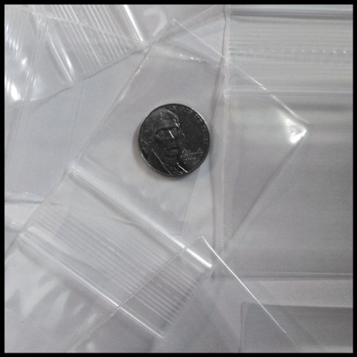 "Small Plastic Recloseable Bags 100 2020 Color Apple Mini Ziplock Baggie Colored Mix 2"" X 2"" (Clear)"