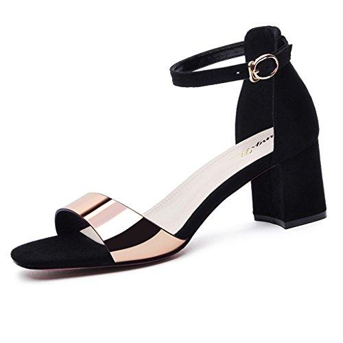 Sandals PU Wrap Heel Female Summer Shallow Mouth Open Toe Thick Heel Shoes High Heels Gold FAxMnVS