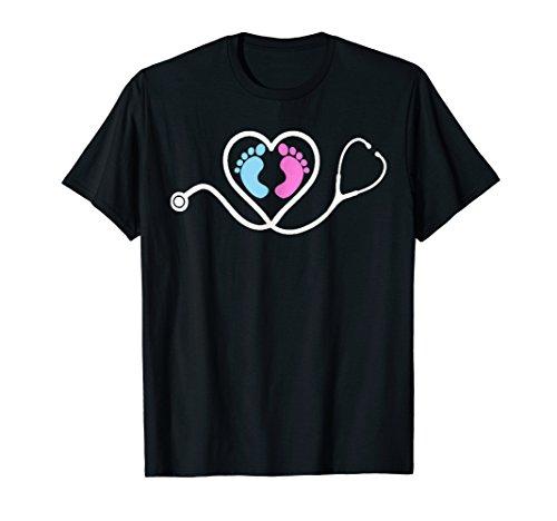 Cute feet stethoscope pediatric neonatal nurse doctor shirt ()