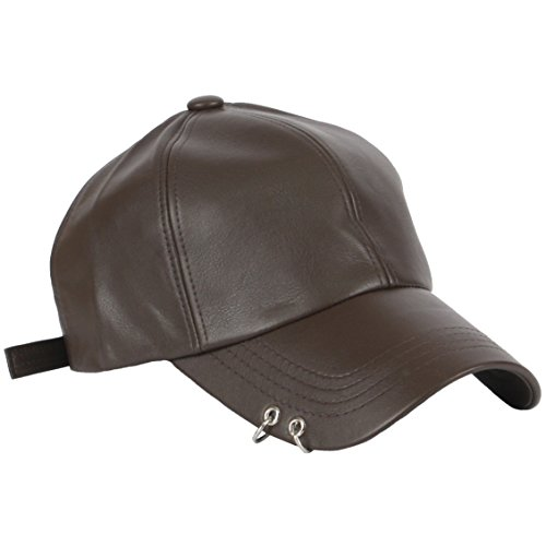 RaOn B165 Punk Silver Ring Piercing Rock Faux Leather Ball Cap Baseball Hat Truckers (Brown)