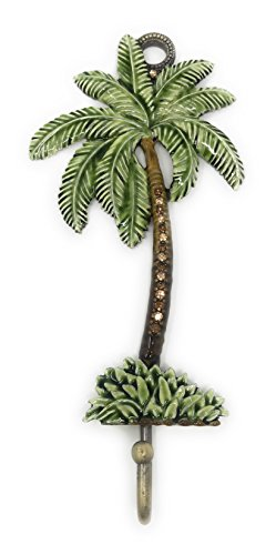 Palm Tree Enameled Pewter Wall Hook By Kubla Crafts, Accented with Austrian Crystals, 7H