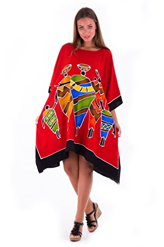 Shu-Shi Womens Short Caftan Poncho Hand Paint Tribal Design Swimwear Cover Up