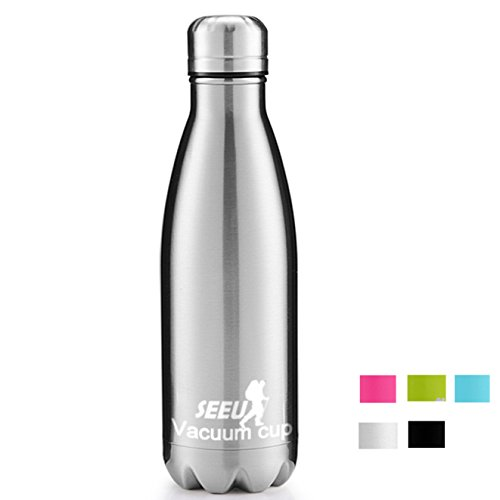 34 Sports Oz Bottle (Double Wall Vacuum Insulated Stainless Steel Water Bottle, 17oz/34oz Sports Cola Shape Portable Water Bottle Leak/Sweat Proof Keeps Your Drink Hot & Cold)