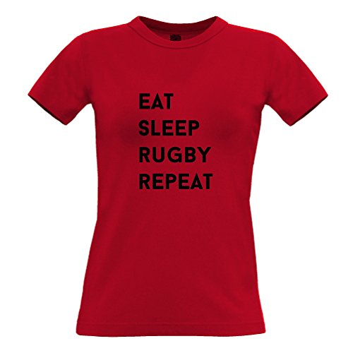 Tim and Ted Eat Sleep Rugby Ripetere Hobby Sport Partita Concorso T-Shirt Da Donna