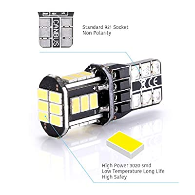 LUYED 2 X 500 Lumens Extremely Bright 3020 18-EX Chipsets 906 912 920 921 T15 Led Bulbs Used For Truck 3rd Brake Lamp Cargo Lights,Xenon White: Automotive