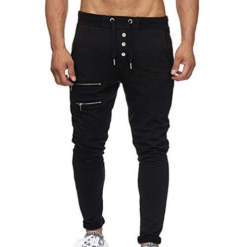 Slim Pants, NEARTIME Clearance Mens Casual Straight Trousers Zipper Pocket Sport&Work Elastic Waist Pants ()