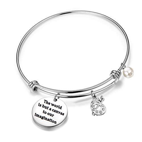 FEELMEM Artist Keychain Painter Gift The World is But A Canvas to Our Imagination Keychain with Paint Palette Charm Paint Jewelry Gift for Artist (Bangle Bracelet) (Artist Bracelet Bangle)