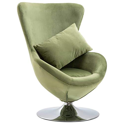 Swivel Egg Chair with Cushion Velvet French Sofa Chair Armchair Bedroom Chair French Armchair French Style Furniture Comfortable Light Green