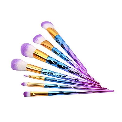 eDealMax 7Pcs manija de Colores colorete en polvo Fundación de Sombra de ojos de la ceja cosmética pinceles de maquillaje - Ojos Color De