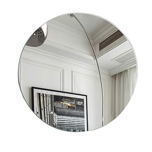 BATH Round Bathroom Mirror, Wall-Mounted Frameless Mirror, European-Style Home Decoration Mirror Vanity - Bathroom Mirrors Retractable Antique Style