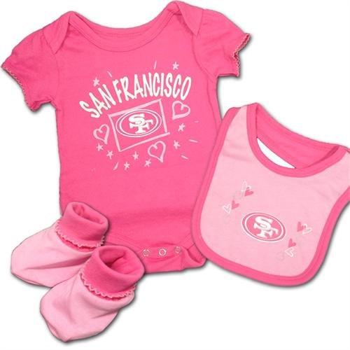Girl Pink Onesie Bib Booties (Baby 49ers Pink Creeper, Bib & Bootie Set| Size:| 6-9M)