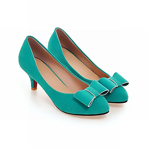 Latasa Womens Cute Bow Tacco Medio Abito Casual Pumps Scarpe Blu
