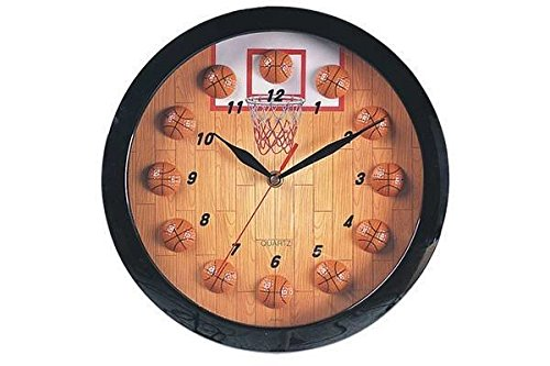 Basketball Clock - StealStreet SS-CQG-8119 Decorative Hanging Basketball Sports Themed Collectible Wall Clock