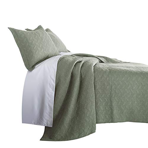 - Chezmoi Collection Roswell 3-Piece Geometric Striped Soft-Finished Vintage Washed 100% Cotton Quilt Set (King, Sage Green)