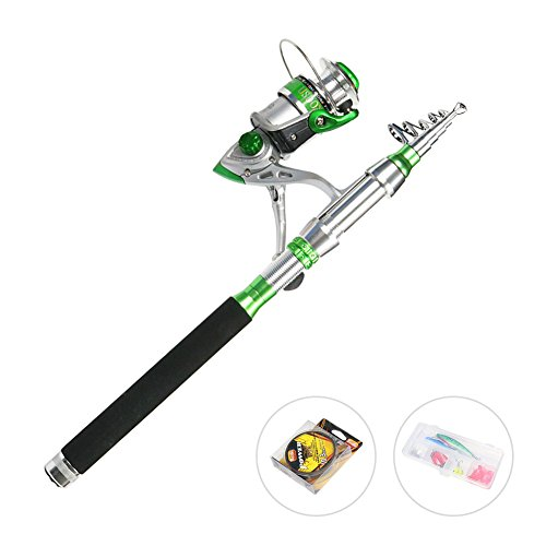 USDOX Fishing Rod&Reel Combo Carbon Telescopic Rod with Line Lures Hooks Metal Reel for Travel Outdoor Saltwater Freshwater Fishing Rod Kit
