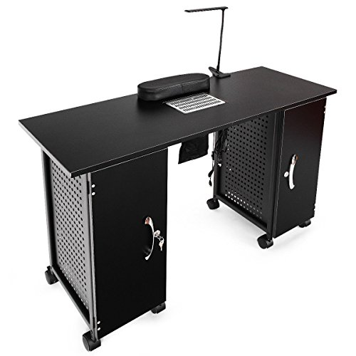 Giantex Manicure Nail Table Station Black Steel Frame Beauty Spa Salon Equipment ()