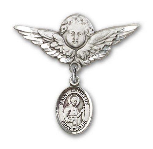 Icecarats Créatrice De Bijoux En Argent Sterling St. Camille De Lellis Broches Badge Charme D'Ange 1 1/8 X 1 1/8