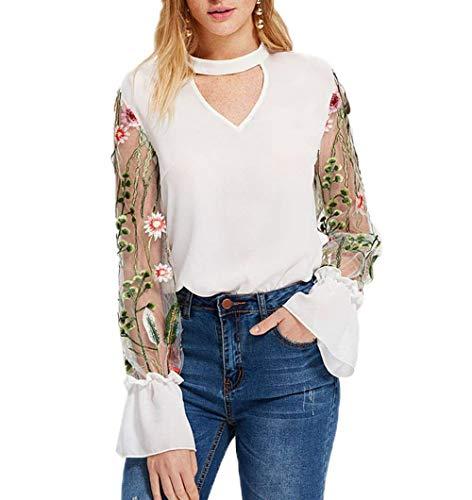 Donna Blusa Nero Autunno Primaverile Elegante di Mode di Marca Camicetta Hipster Bello Colori Solidi Maniche Tromba V-Neck T Shirts Trasparente Tulle Cucitura Ricamo Top Bianca