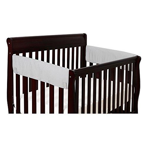 Solid Grey 2-Pack Side Crib Rail Guard Padded Protectors - 100% Cotton Fabrics