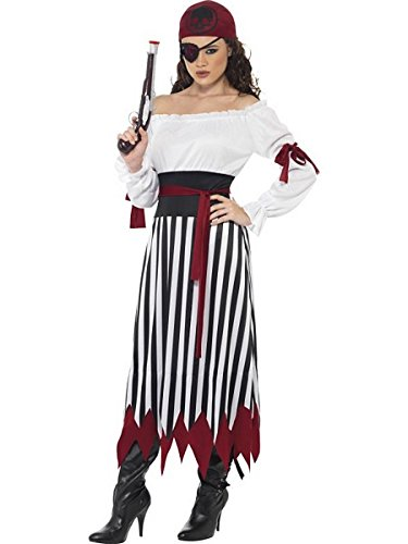 Smiffys Women's Pirate Lady Costume, Dress with Arms tied, Belt and Headpiece, Pirate, Serious Fun, Size 10-12, -