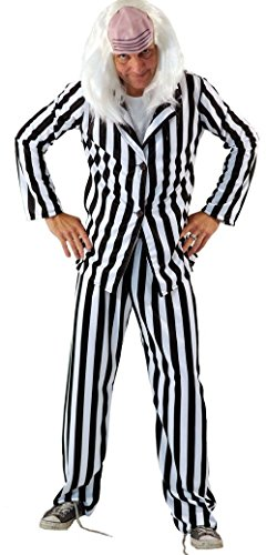 Halloween-Scary-80's BEETLEJUICE Fancy Dress Costume with Wig - From Teen Size to XXXXL (XXXL)
