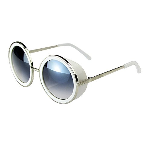 JULI 80's Style Vintage Style Inspired Classic Round Sunglasses - Fashion Steampunk Inspired