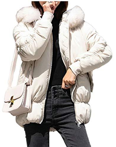 Down Puffer EKU Winter Coats Hooded Women's White Short Jackets IgYwqSg