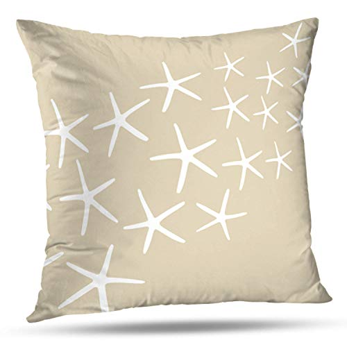 "Soopat Decorative Throw Pillow Cover Square Cushion 20""X20"" Sand White Starfish Pillowcase Home Decor Kitchen Garden Sofa from Soopat"