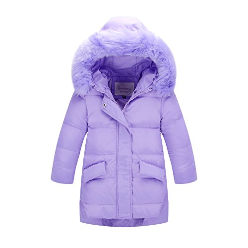 - Ding Dong Kid Girl Winter Hooded Fur Down Parka Coat(Purple,5T)