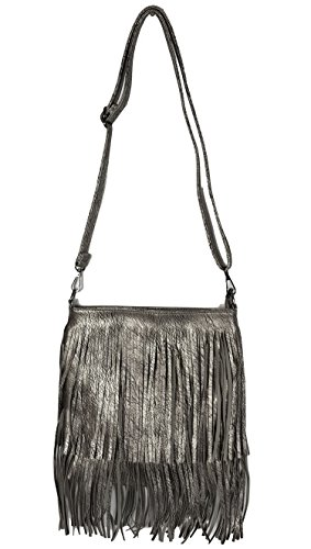 Sides Tassels Size Fringes Both Shoulder With Grey Faux Smlchbh Bag GFM Soft Small Leather on Style 1 bag Tassel Silver acCWzxvw