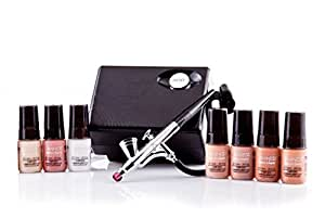 Luminess Air Basic Airbrush System with 7-Piece Silk 4-IN-1 Airbrush Foundation & Cosmetic Starter Kit,  Medium