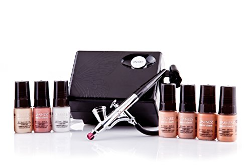 Luminess Air Basic Airbrush System with 7-Piece Airbrush Foundation & Cosmetic Starter Kit, Shade Medium